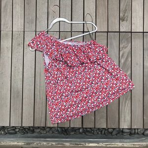 L.O.G.G. for H&M Red Floral Print One Shoulder Top